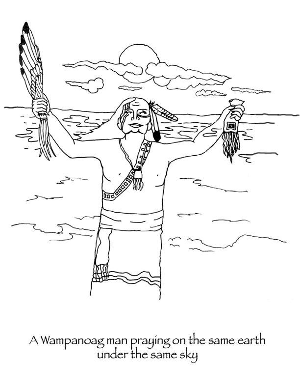 Thanksgiving Coloring Pages Wampanoag Man Praying People