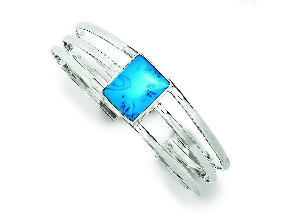 Sterling Silver Simulated Turquoise Three Strand Cuff Bangle Bracelet