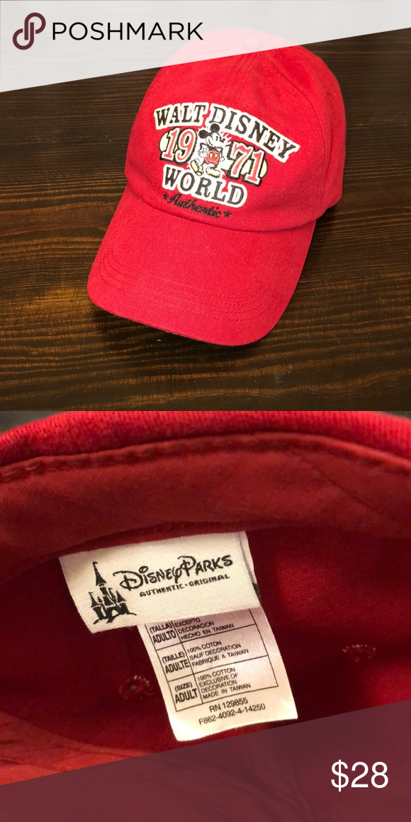 40bef3e746b Authentic Disney Parks Baseball Hat Walt Disney World Cap with Mickey on  embroidered emblem saying 1971 Disney Accessories Hats