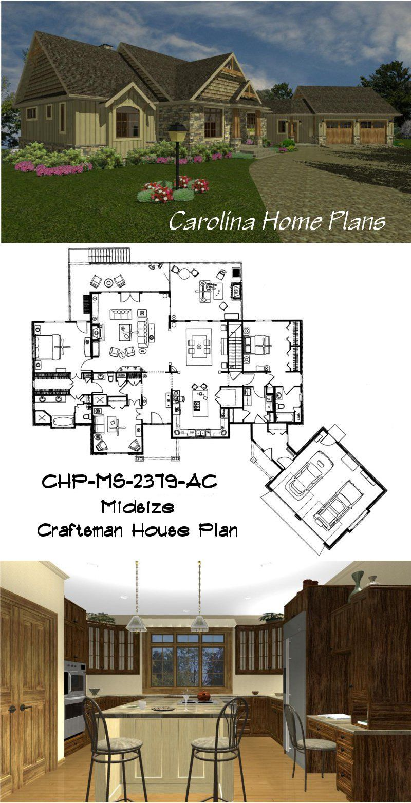 Craftsman Style House Plan With Large Inviting Kitchen View 3d S House Plans Floor Plans Open Floor House Plans