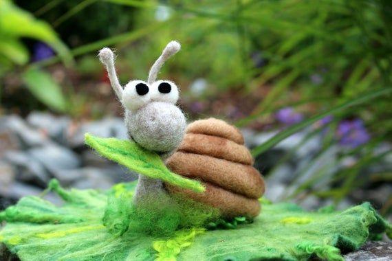 Snail, felt snail Florentine floodch-immediately available