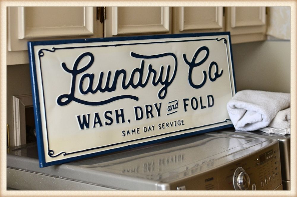 Metal Laundry Co Sign Wall Mounted Vintage Inspired White Laundry Room Sign Laundry Room Signs White Laundry Rooms Wall Signs
