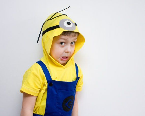 Minion Halloween Costume Single Eye Blue Overall Shorts and Yellow Hooded Tshirt Toddlers Costume by oKidz on Etsy  sc 1 st  Pinterest & cute minion costume | Halloween | Pinterest | Toddler halloween ...