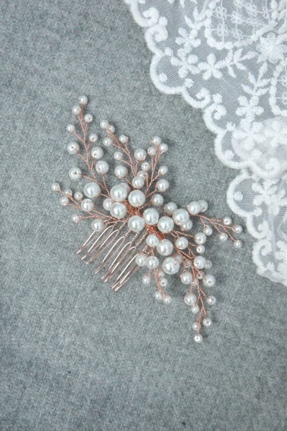 Rose Gold Bridal hair comb, Rose Gold Bridal headpiece, Bridal hair ...