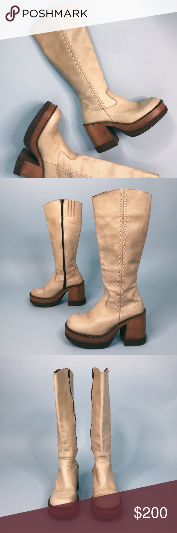 709ae83b565 VTG RARE 90s London Underground Platform Boots Genuine leather 90s does 70s platform  boots. Pale