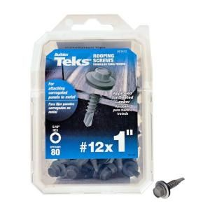 Teks 12 X 1 In Hex Washer Head Drill Point Roofing Screw 80 Pack 21412 At The Home Depot 9 56 Roofing Screws Roofing Washer