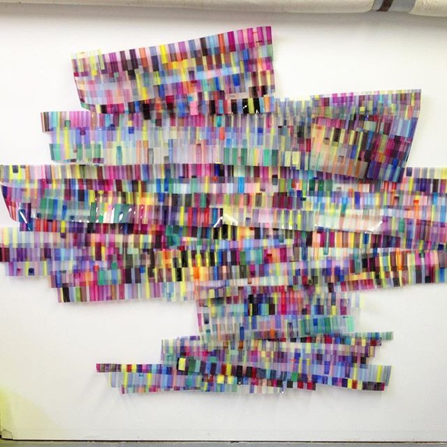 Rachel Hayes | Acrylic paint on acetate installation, stitched and pinned together