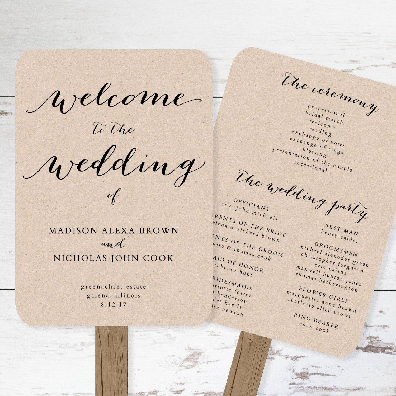 Wedding Program Fan Template - printable rustic wedding fan