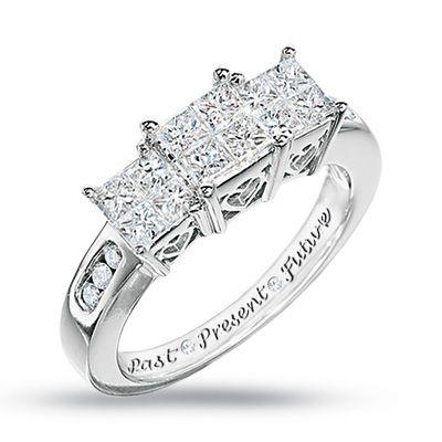 d2e1491b1c04b 1 CT. T.W. Quad Princess-Cut Diamond Three Stone Past Present Future ...