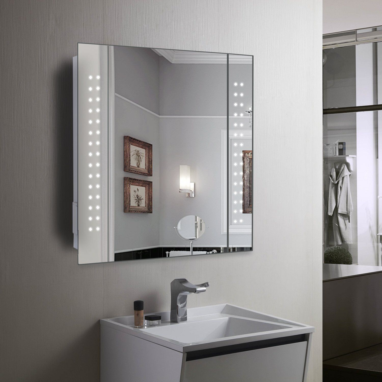 bathroom bathroom mirrors with electric lights embedded light rh pinterest com  aura 50cm mirror bathroom cabinet with led lights