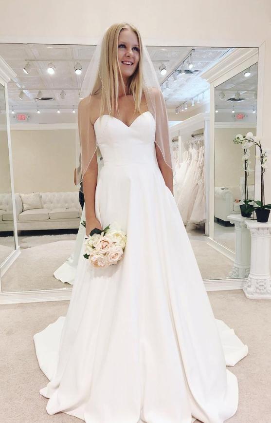 Sweetheart White Satin Floor Length Bridal Gown #bertaweddingdress