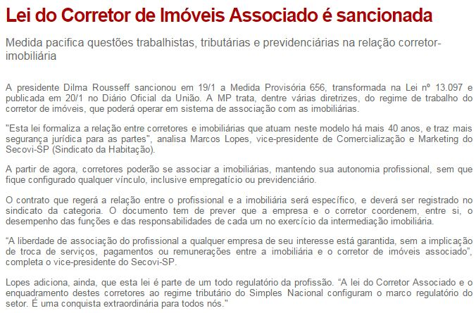 Imobiliaria Anderson Martins : LEI DO CORRETOR DE IMÓVEIS ASSOCIADO É SANCIONADA