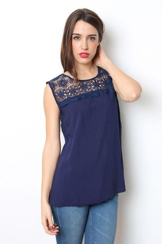 13690fef5 Resultado de imagen para remeras de vestir con encaje | blusas para ...
