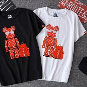 2dc0919871a1 LV SupremeTシャツ レディース 短袖Tシャツ パロディ 韓国風 クマブランド半袖 夏向き クマ