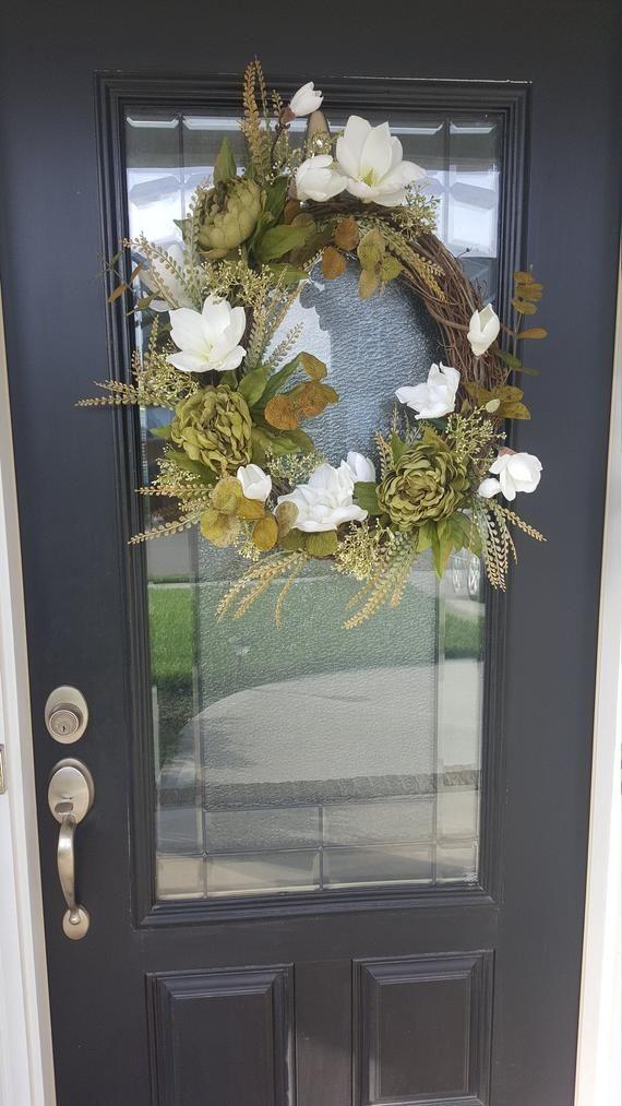 Photo of Elegant Fall Magnolia Wreath With Green Peonies,  Best Fall Wreath, Autumn Magnolia Wreath, Grapevine Wreath for Door