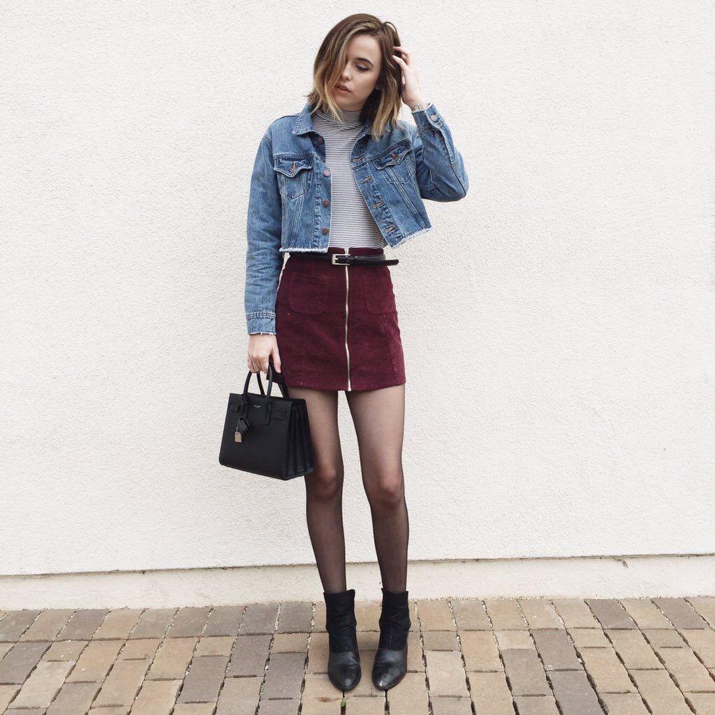 Denim jacket striped turtleneck suede skirt boots ysl bag