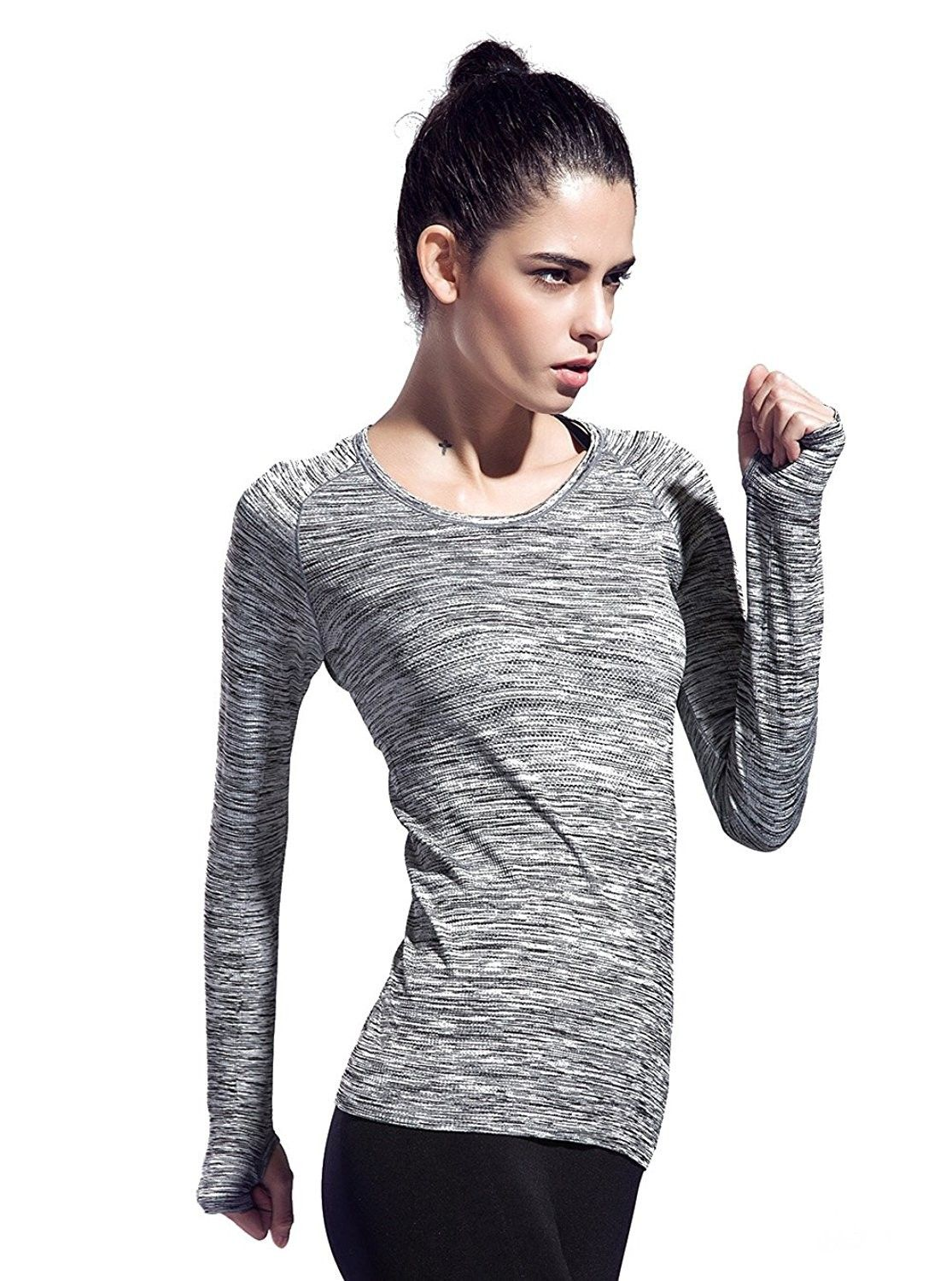 4712e628 Women's Clothing, Active, Active Shirts & Tees, Women's Space Dye Long  Sleeve Quick Dry Crew Neck Running Shirt for Workout Hiking Yoga Gym Sport  - Gray ...