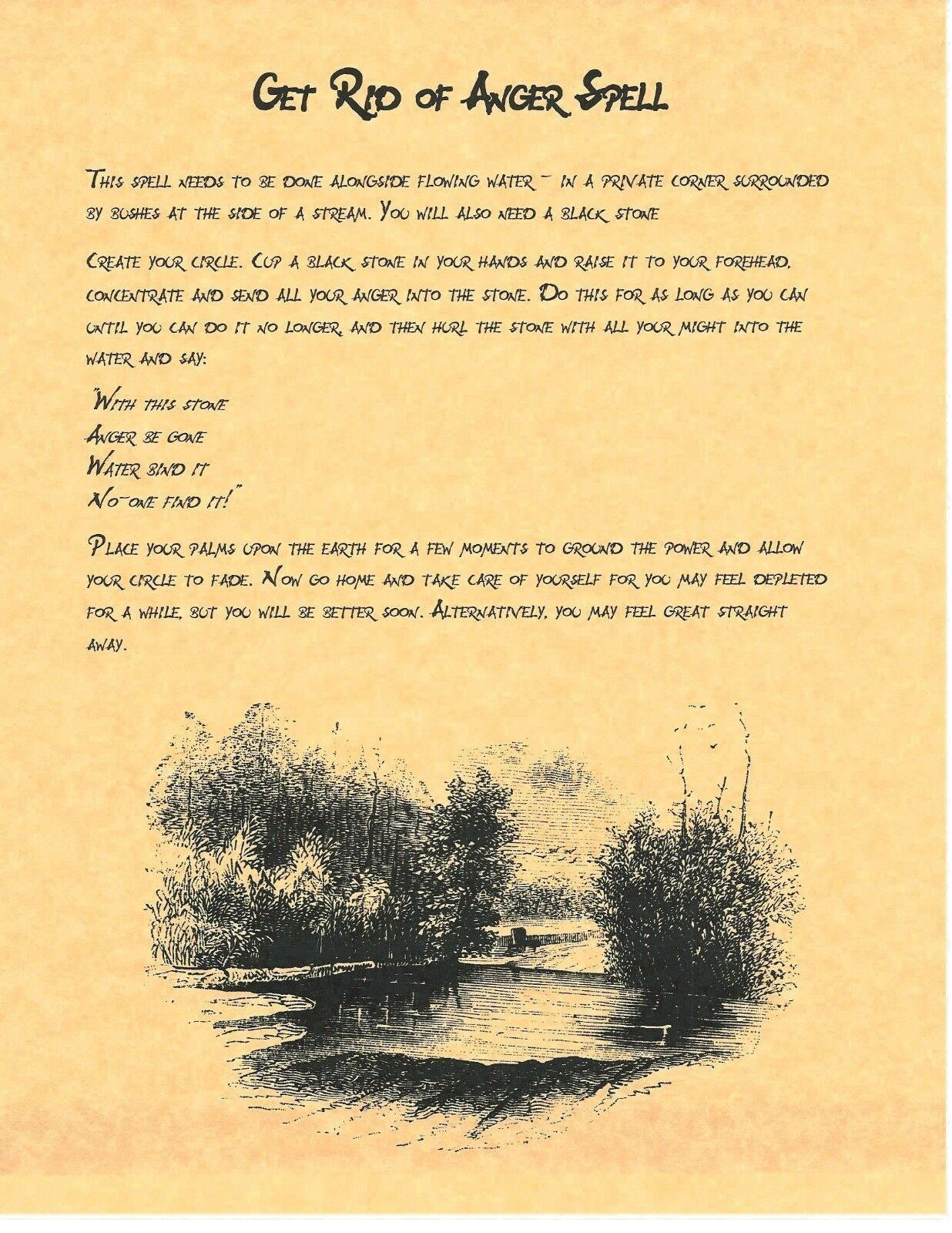 Details about Book of Shadows Spell Pages ** Get Rid of anger Spell
