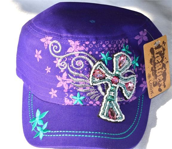 Beautiful purple cadet cap with a bejeweled cross with pink and turquoise overstitching. A favorite of cowgirls and perfect for riding, practicing or just feeding the stock. It is heat pressed and comes with an adjustable strap. Thank you for visiting and Cowgirl Up! Price: $15.00