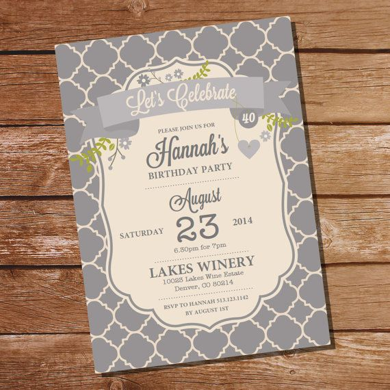 Classic gray vintage birthday invitation 30th 40th 50th 60th 70th classic gray vintage birthday invitation 30th by sunshineparties 500 filmwisefo