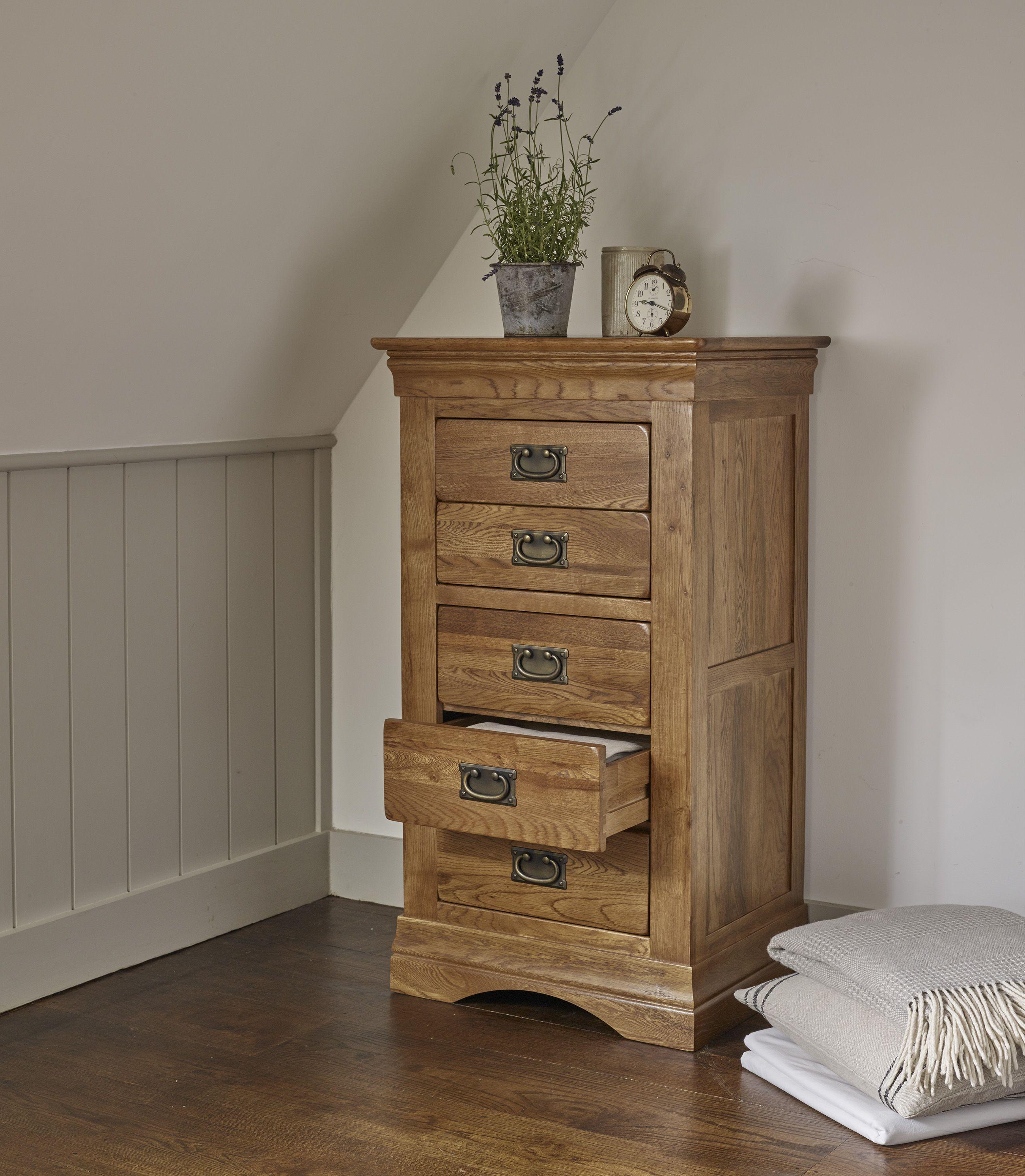 French farmhouse rustic solid oak 5 drawer tallboy