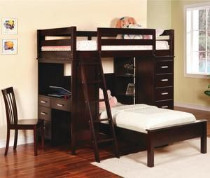 300a24d4360c9 Cappuccino Workstation Twin Bunks Loft Bed With Desk Shelf By Coaster
