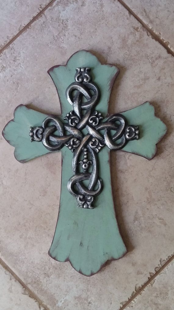 "Wood Cross 16"" Turquoise Cross Wall Cross Rustic Cross ..."