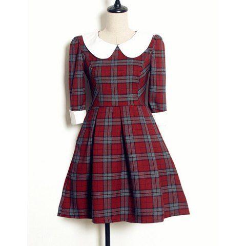 Vintage Peter Pan Collar Plaid Dress