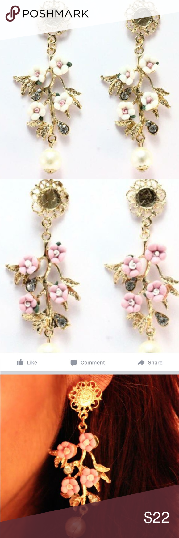Chic Floral Earrings. Chic Floral Earrings - A guaranteed style statement now availble in summery pink and white. They really stand out when paired with linen pastel attires.Available in white, pink and blue color. Only 1 pair of each color available. Please mention your color preference. Jewelry Earrings