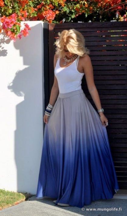 757792482162 maxi skirts a big + for summer and winter this year, ombre gradient maxi  skirtre