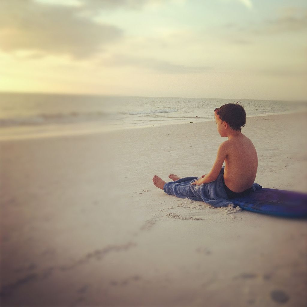 quiet moment at the sea:: he sat like this for at least 20 minutes, just watching the ocean.