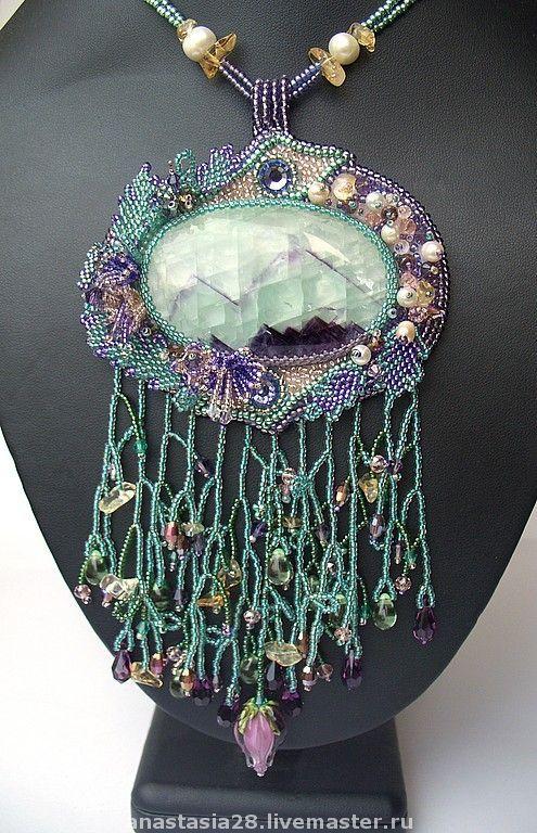 """Кулоны, подвески ручной работы. Ярмарка Мастеров - ручная работа Кулон """"Альпийские луга"""". Handmade.  #beadwork"""