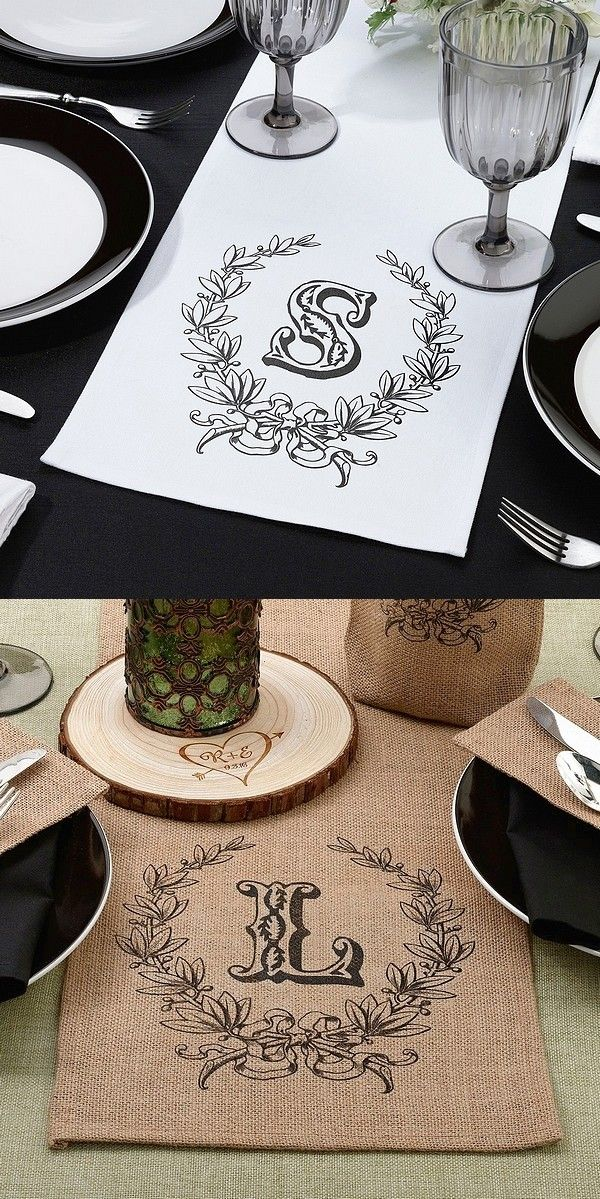 Add dimension and personality to your reception bridal table or sweetheart table with a table runner personalized to honor the bride and groom with large decorative initials or custom printing to compliment your wedding theme. After the wedding, the table runner can be used as a table decoration at home or decorative wall art when cut and framed. These table runners can be ordered at http://myweddingreceptionideas.com/table_runner_head_wedding_table_decoration.asp