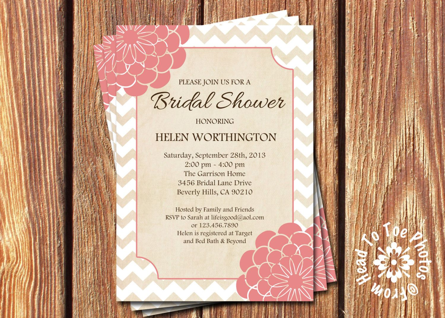 Flower Chevron Bridal or Baby Shower Invitations by FromHeadtoToeDesigns on Etsy