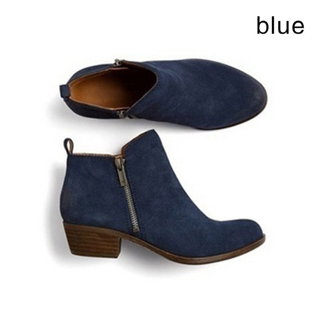 c7a63188c00 New Women Low Heel Shoes Fashion Zipper Suede Leather Ankle Boots ...