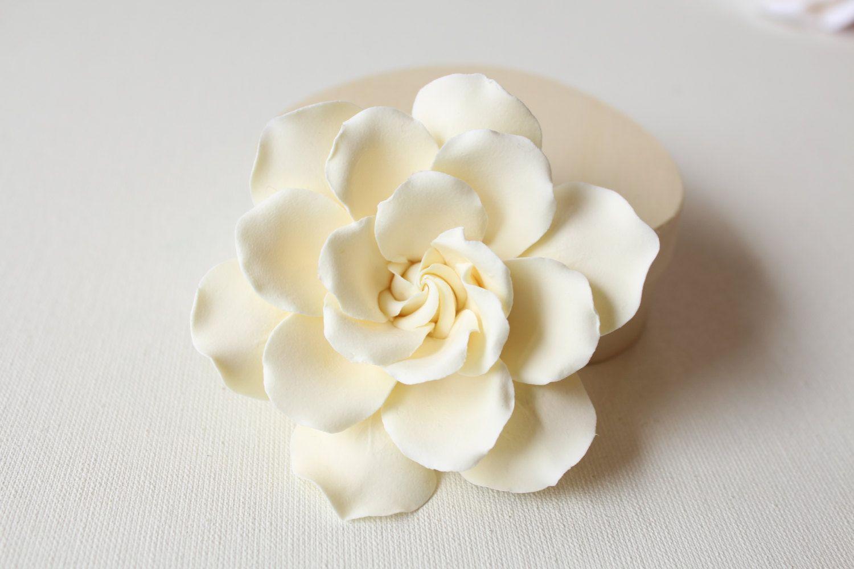 Ivory Gardenia Set Of 2 Gardenia Hair Flower Hair Clip Etsy Polymer Clay Flowers Flowers In Hair Flowers