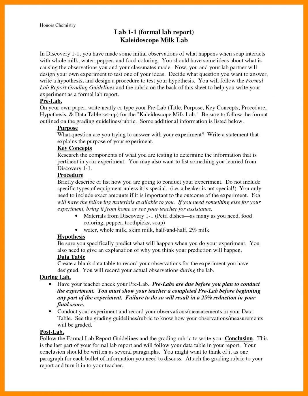 Chemistry Lab Report Example E2 80 93 Bushveld Sample Pdf Te For