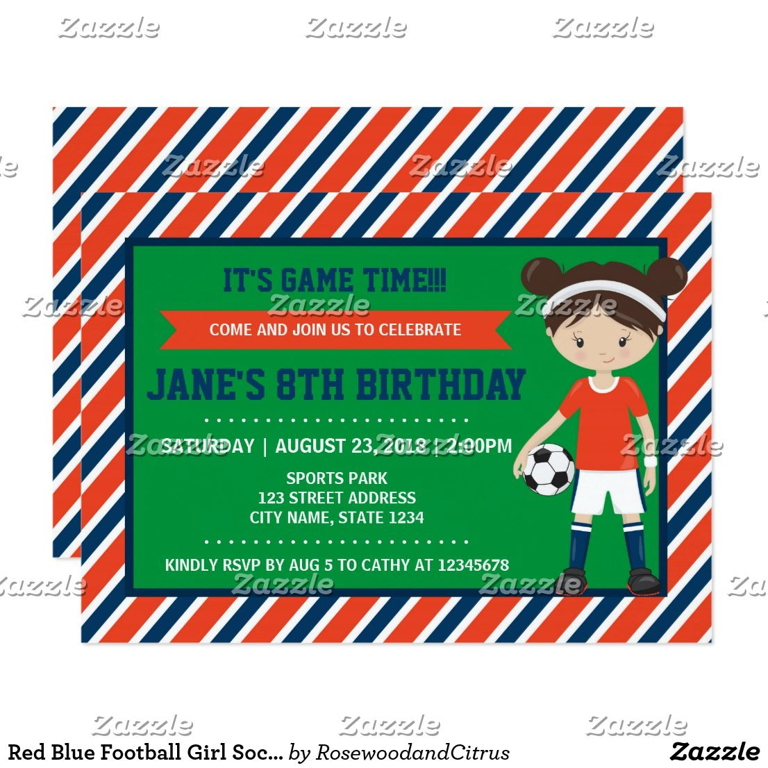 Red blue football girl soccer birthday invitation stopboris Images