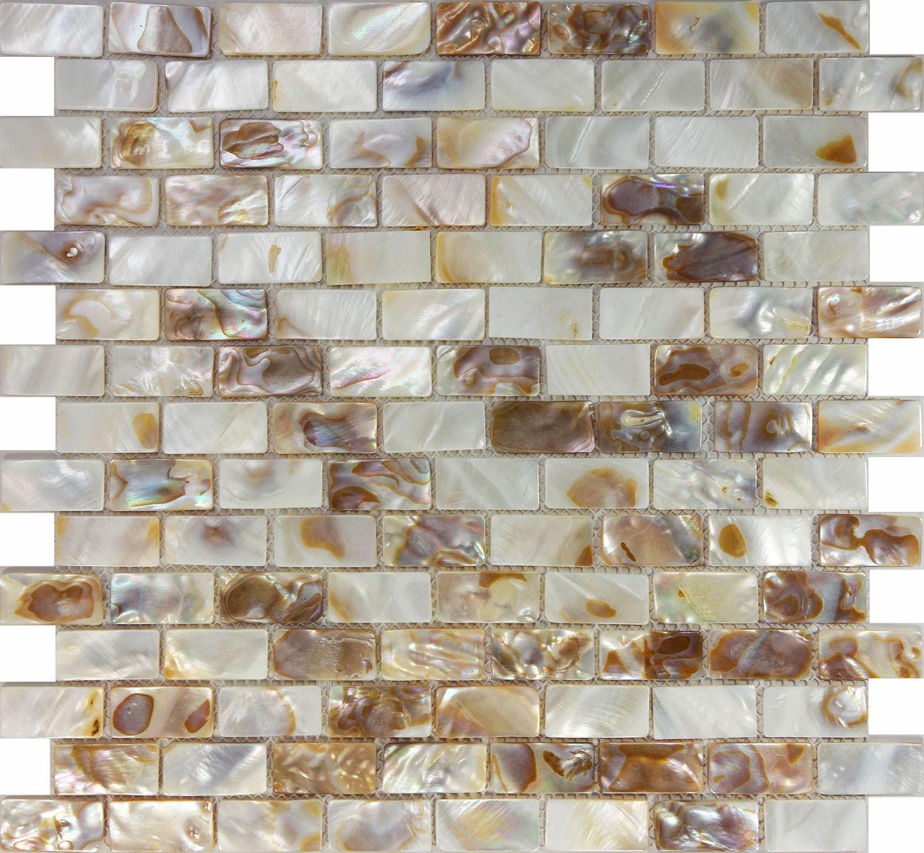 Küchenideen ziegel sample mother of pearl sea shell subway brick mosaic tile kitchen