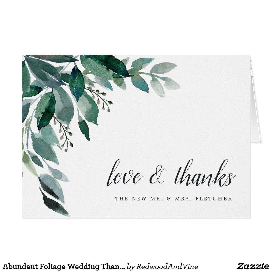 Abundant Foliage Wedding Thank You Zazzle Com Foliage Wedding