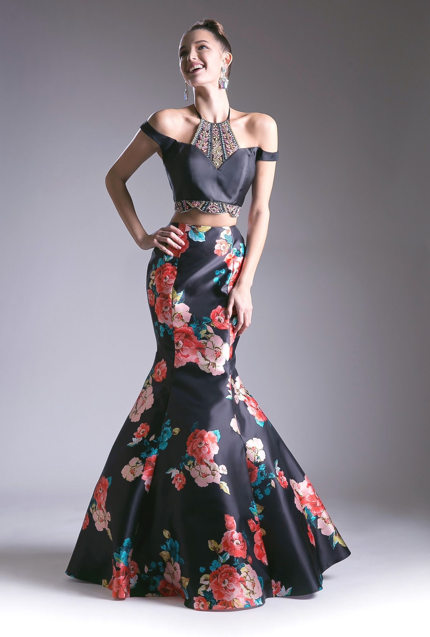 Black off the shoulder floral print two piece dress by cinderella
