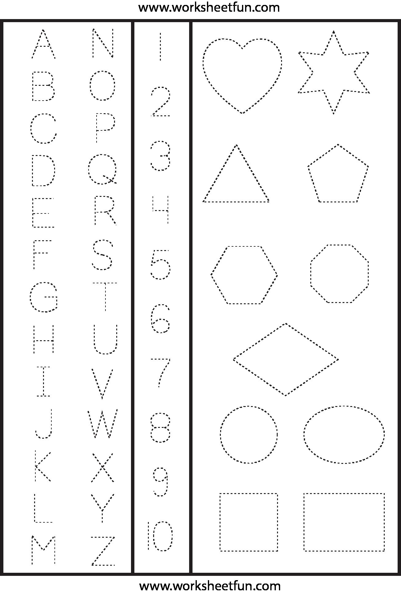 123 Tracing Worksheets Preschool In