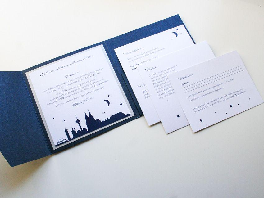 Pocket Fold Einladung, Koeln Mond Sterne, Blau+Silber, Einleger,  ©passion4paper, Www.die Edle Karte.de