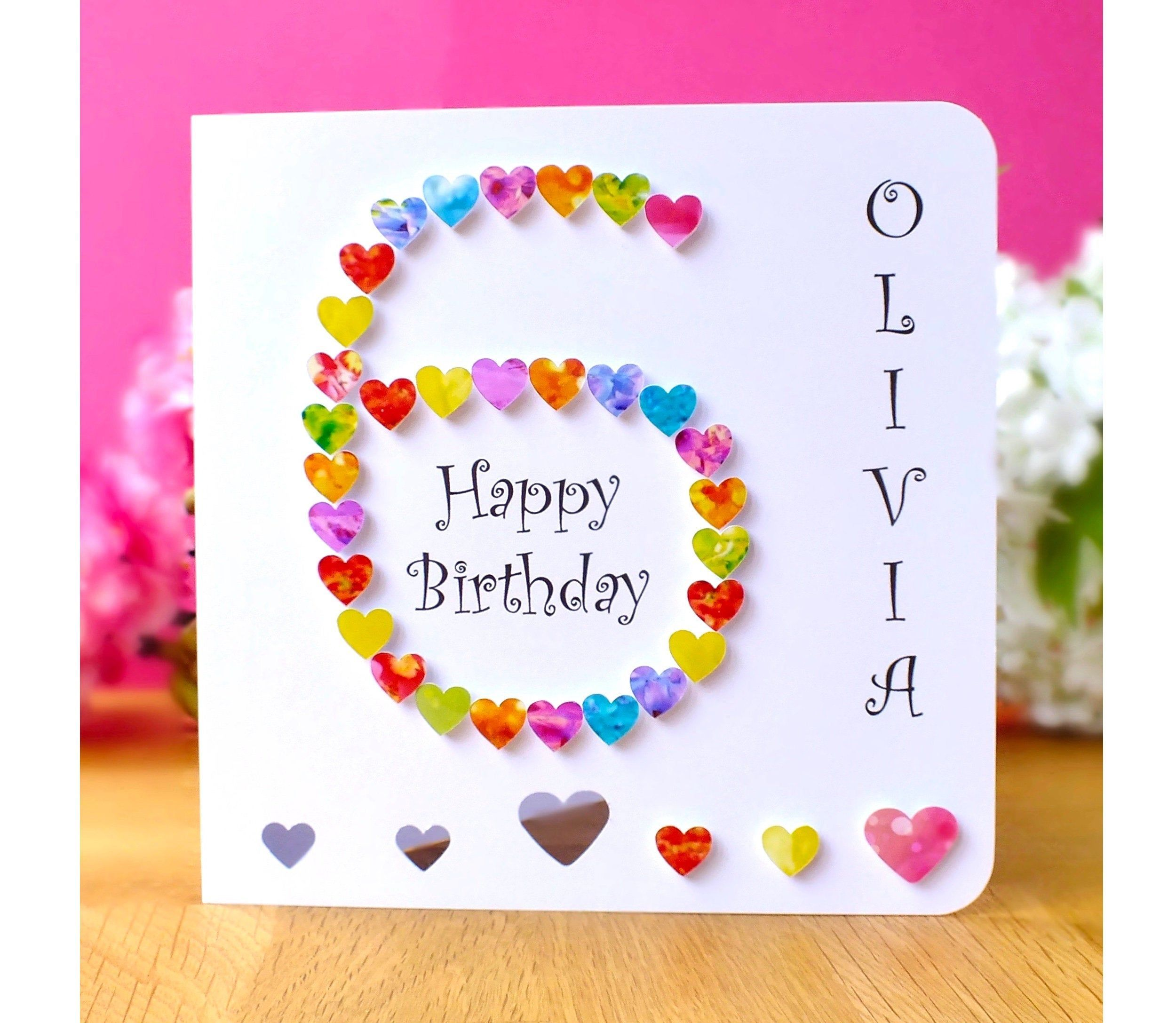 6th Birthday Card Personalised And Handmade Age 6 Card Customised 6th Birthday Card Ideal Son D Simple Birthday Cards Birthday Cards Kids Birthday Cards