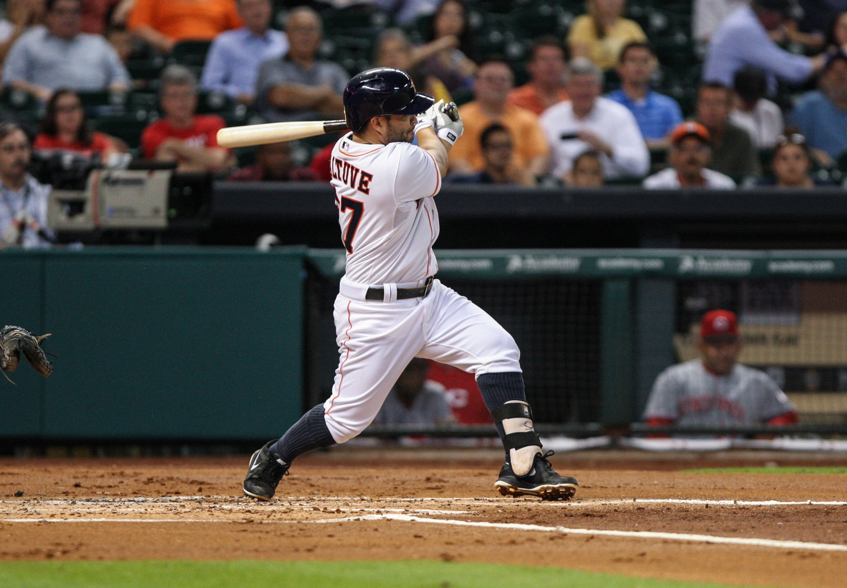 CrowdCam Hot Shot: Houston Astros second baseman Jose Altuve gets a double during the first inning against the Cincinnati Reds at Minute Maid Park. Photo by Troy Taormina