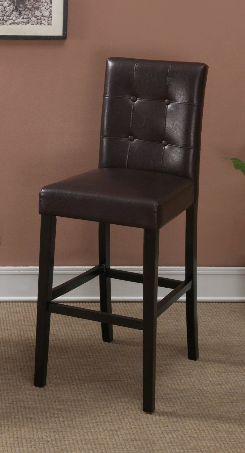 Amazon.com - Dark Brown Leather Bar Stools Set of 2 Tufted Parson ...