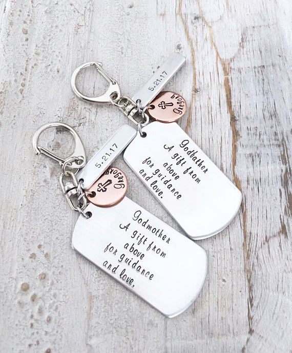 Christening Gift Custom KeyChain Godfather Gift Confirmation Gift Personalized Godfather Keychain Hand Stamped Baptism Gift Thank You