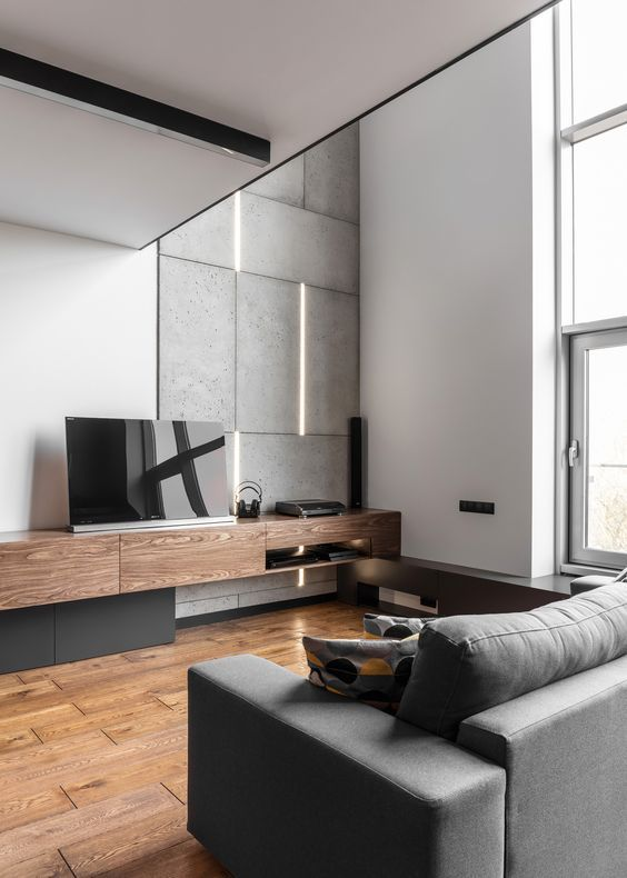 concrete tiles and wooden touches make this manly living room more