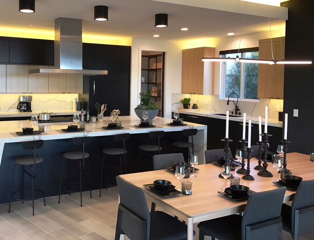 A New Home In Las Vegas Has An Urban Effects Cabinetry Kitchen Designed With The Cottonwood Door Style In Hd Kitchen Sink Decor Trendy Kitchen Kitchen Cabinets