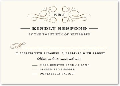 Delicate Flourishes Embellish This Rsvp Response Card A Traditional Template Uses The Formal Response F Rsvp Wedding Cards Wedding Rsvp Wedding Response Cards